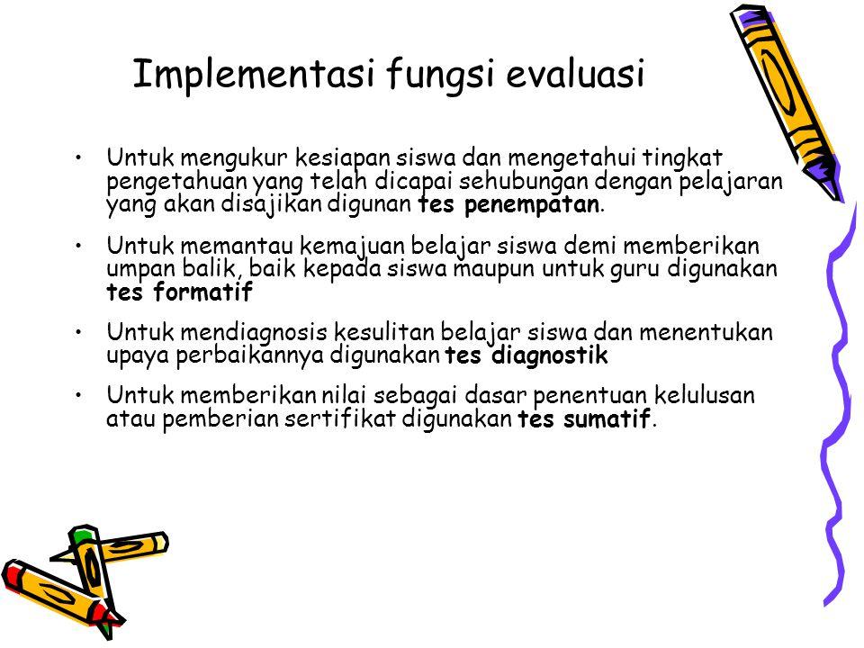Implementasi fungsi evaluasi