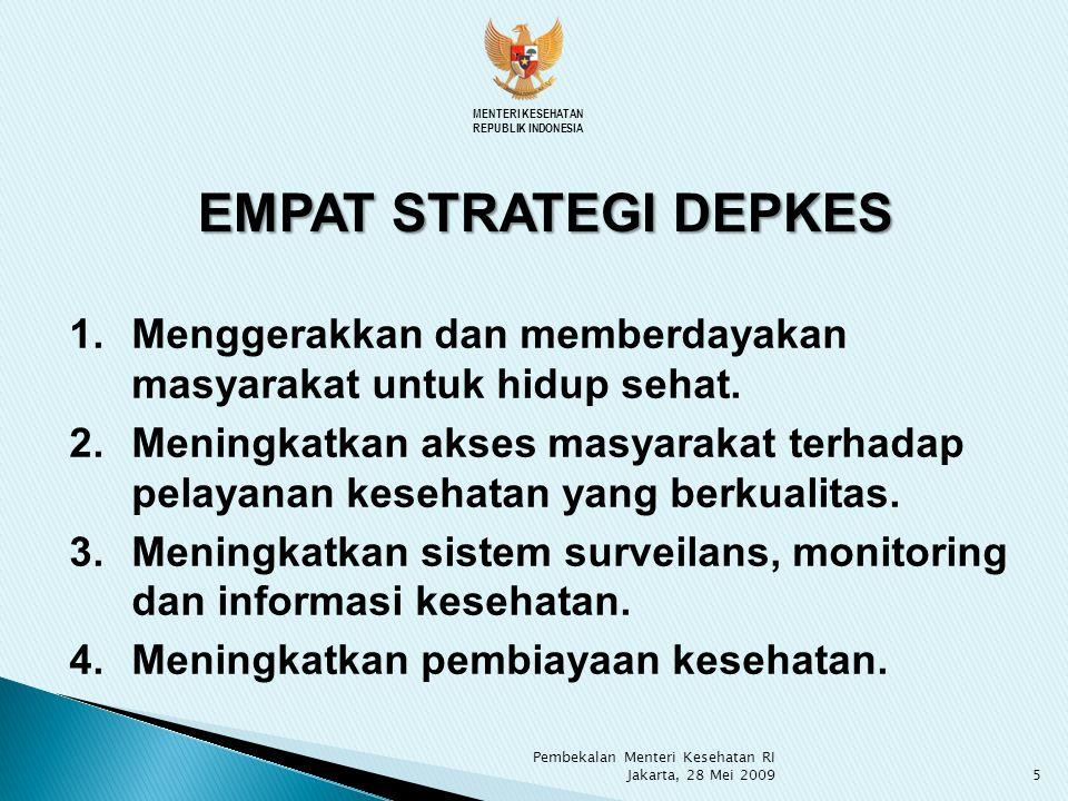 MENTERI KESEHATAN REPUBLIK INDONESIA. EMPAT STRATEGI DEPKES. Menggerakkan dan memberdayakan masyarakat untuk hidup sehat.