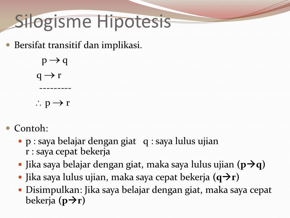 Silogisme Hipotesis Bersifat transitif dan implikasi. p  q q  r