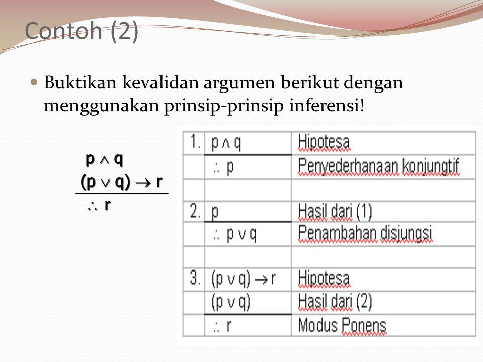 Contoh (2) Buktikan kevalidan argumen berikut dengan menggunakan prinsip-prinsip inferensi! p  q.