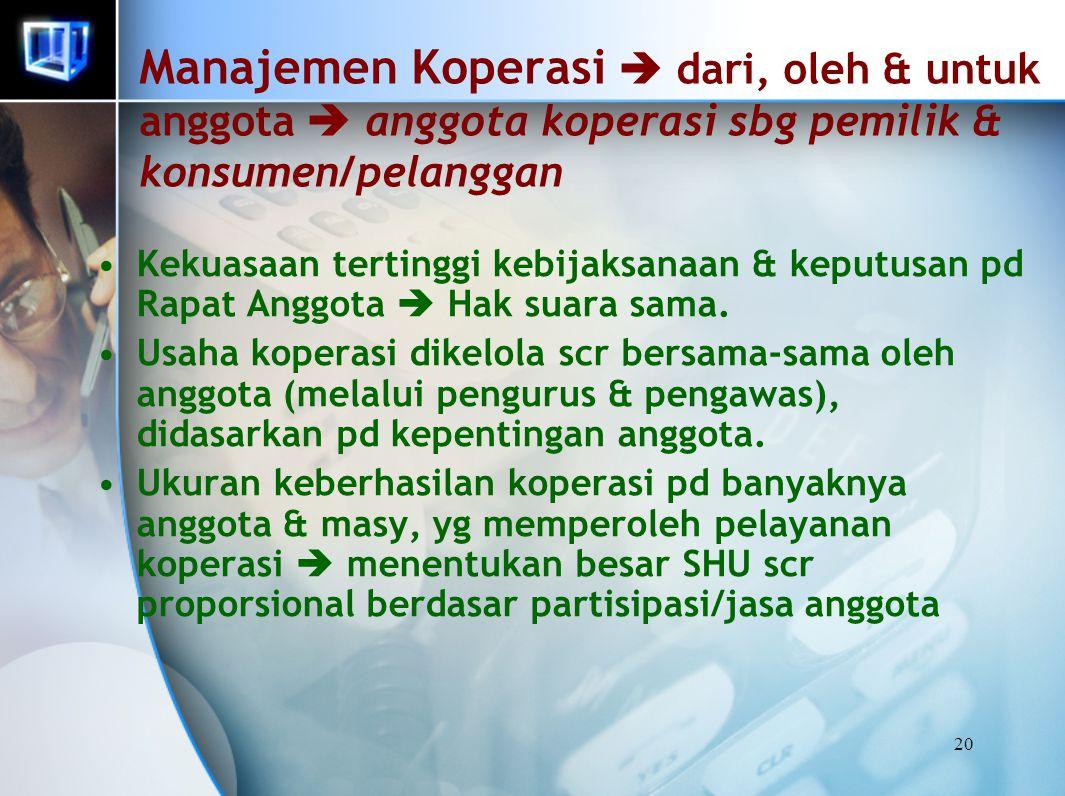 Manajemen Koperasi  dari, oleh & untuk anggota  anggota koperasi sbg pemilik & konsumen/pelanggan