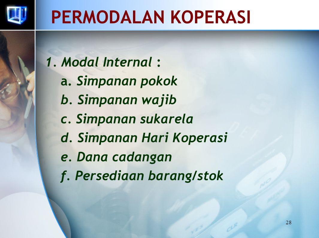 PERMODALAN KOPERASI 1. Modal Internal : a. Simpanan pokok