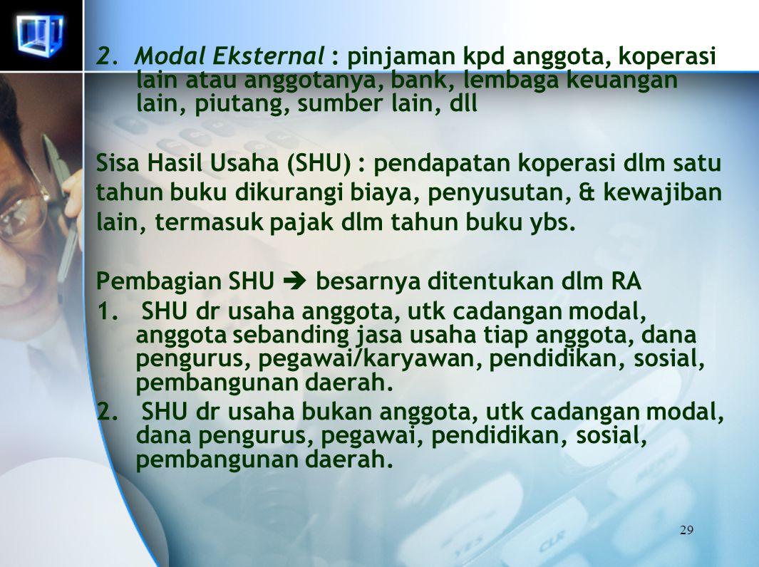 2. Modal Eksternal : pinjaman kpd anggota, koperasi lain atau anggotanya, bank, lembaga keuangan lain, piutang, sumber lain, dll