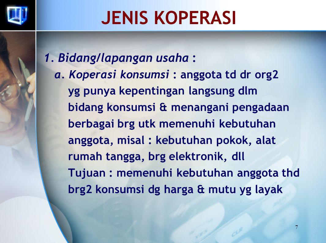 JENIS KOPERASI 1. Bidang/lapangan usaha :