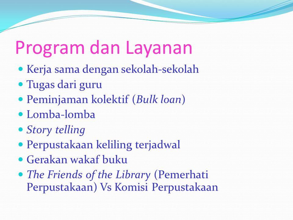 Program dan Layanan Kerja sama dengan sekolah-sekolah Tugas dari guru