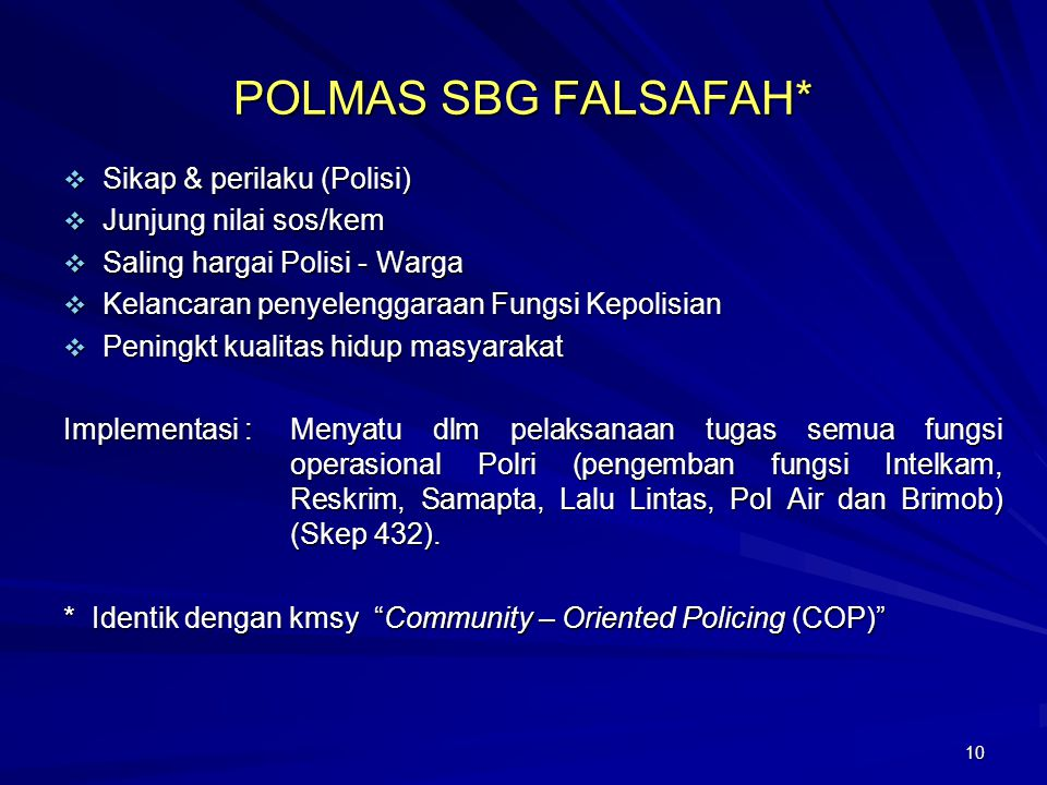 POLMAS SBG FALSAFAH* Sikap & perilaku (Polisi) Junjung nilai sos/kem