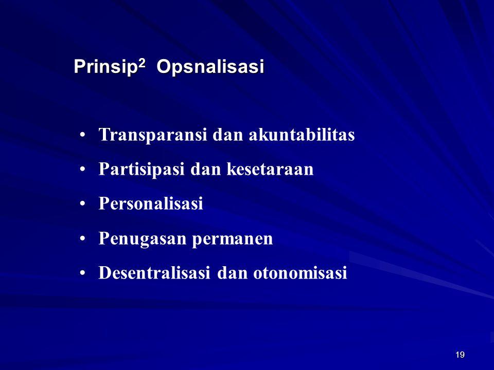 Prinsip2 Opsnalisasi Transparansi dan akuntabilitas. Partisipasi dan kesetaraan. Personalisasi. Penugasan permanen.