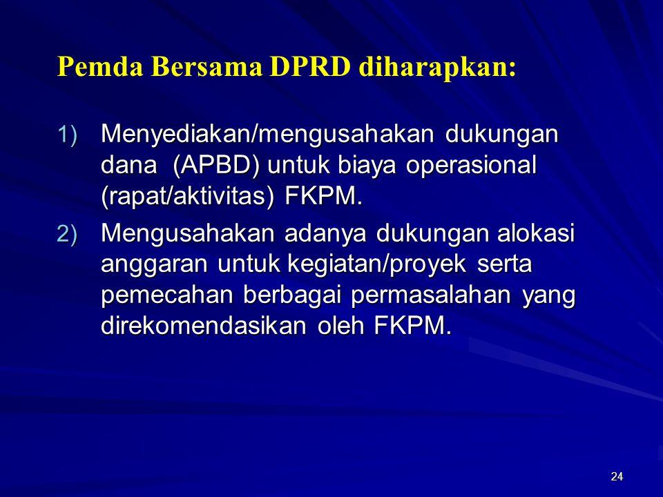 Pemda Bersama DPRD diharapkan: