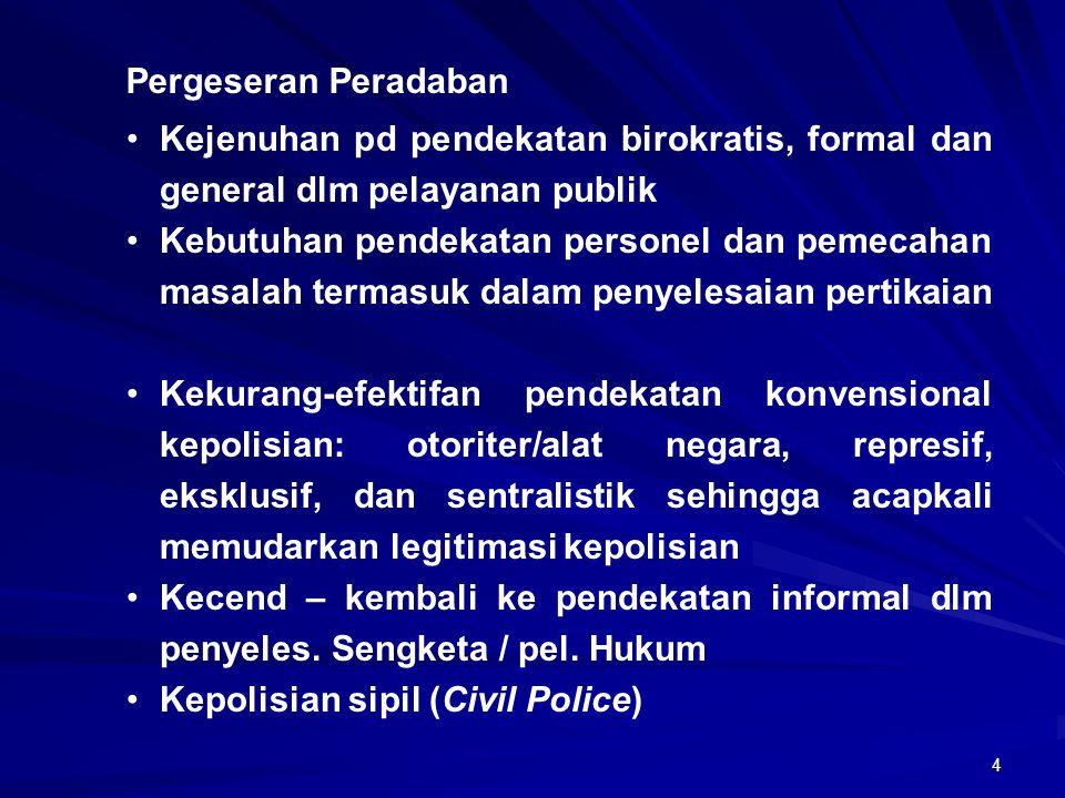 Pergeseran Peradaban Kejenuhan pd pendekatan birokratis, formal dan general dlm pelayanan publik.