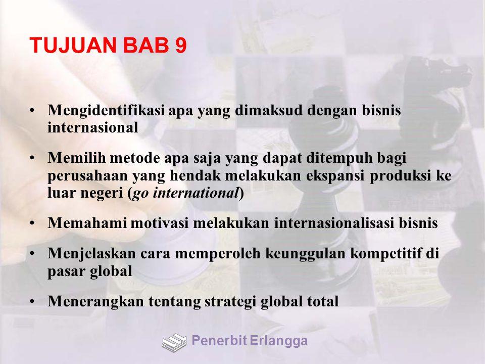 TUJUAN BAB 9 Mengidentifikasi apa yang dimaksud dengan bisnis internasional.