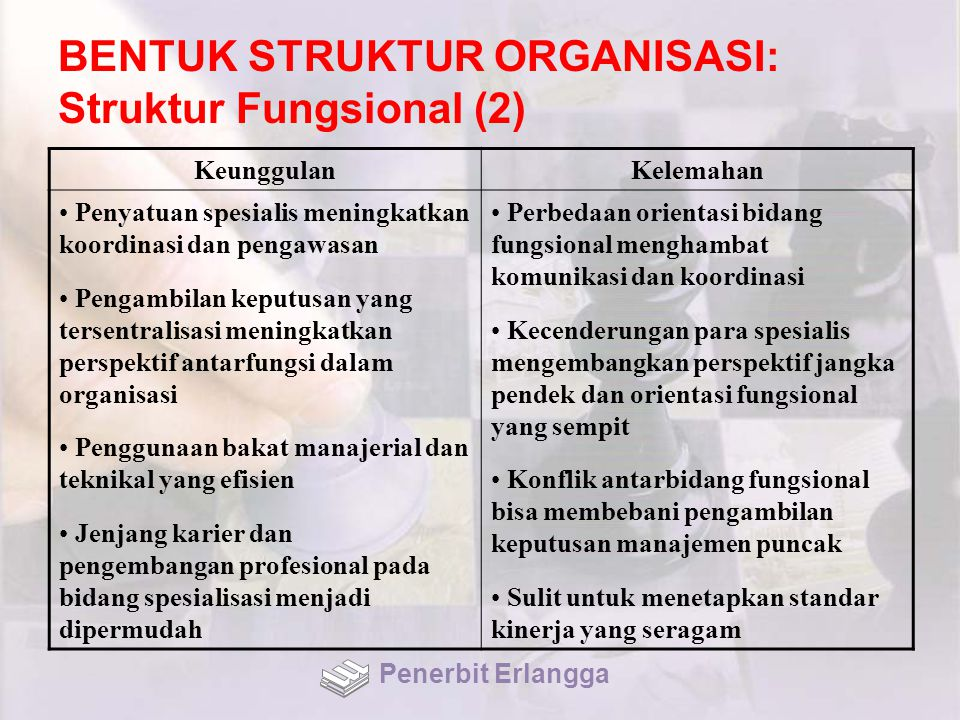 BENTUK STRUKTUR ORGANISASI: Struktur Fungsional (2)