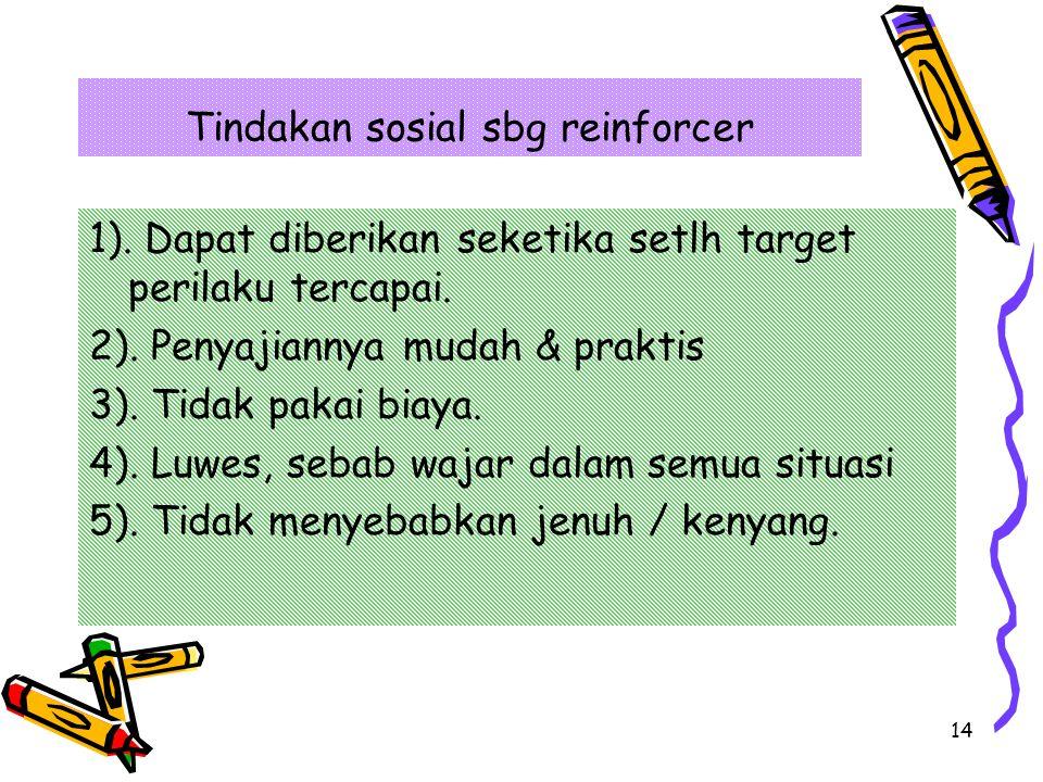Tindakan sosial sbg reinforcer