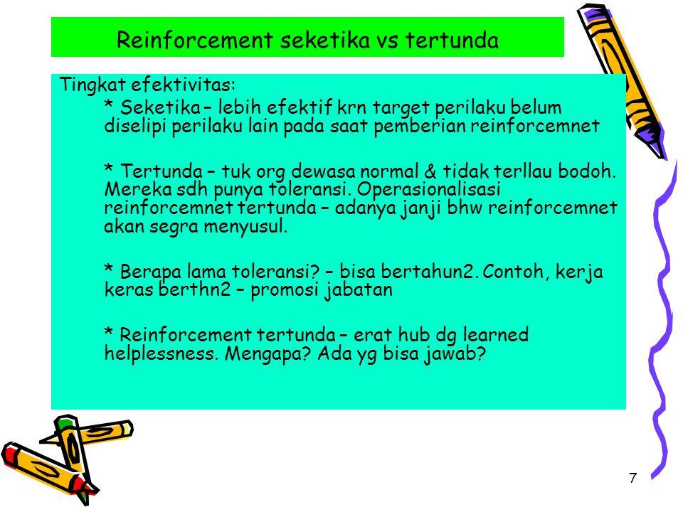 Reinforcement seketika vs tertunda