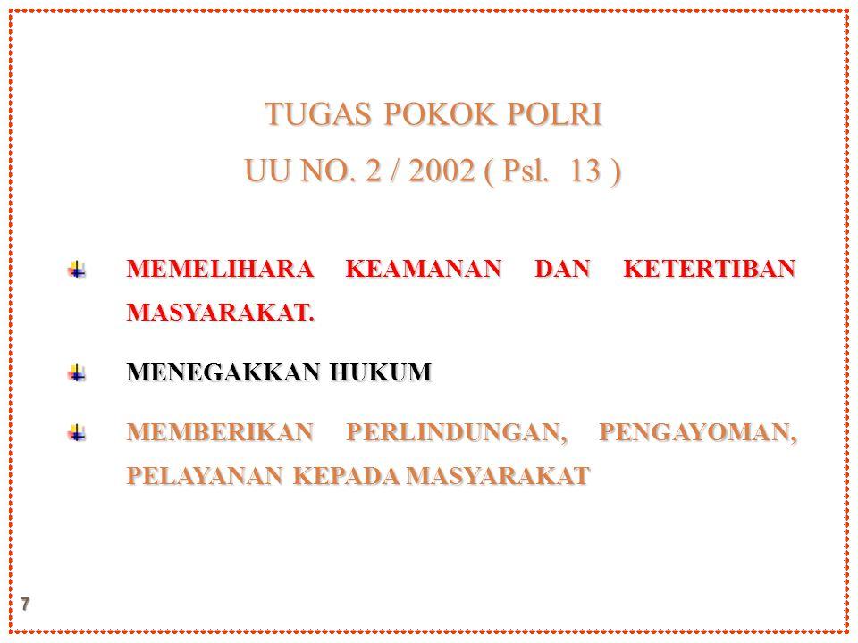 TUGAS POKOK POLRI UU NO. 2 / 2002 ( Psl. 13 )
