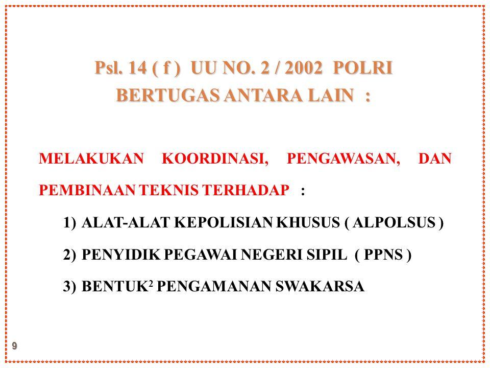 Psl. 14 ( f ) UU NO. 2 / 2002 POLRI BERTUGAS ANTARA LAIN :