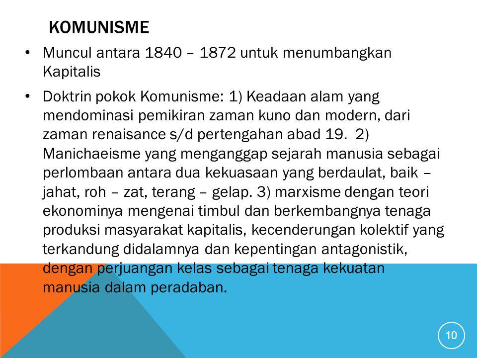komunisme Muncul antara 1840 – 1872 untuk menumbangkan Kapitalis