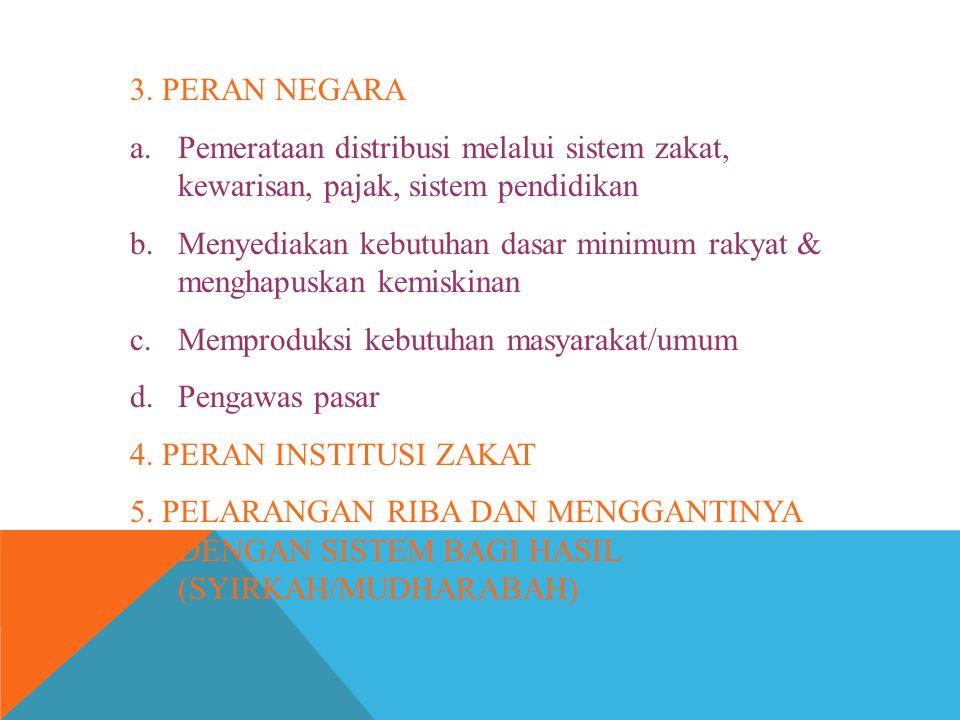 3. PERAN NEGARA Pemerataan distribusi melalui sistem zakat, kewarisan, pajak, sistem pendidikan.
