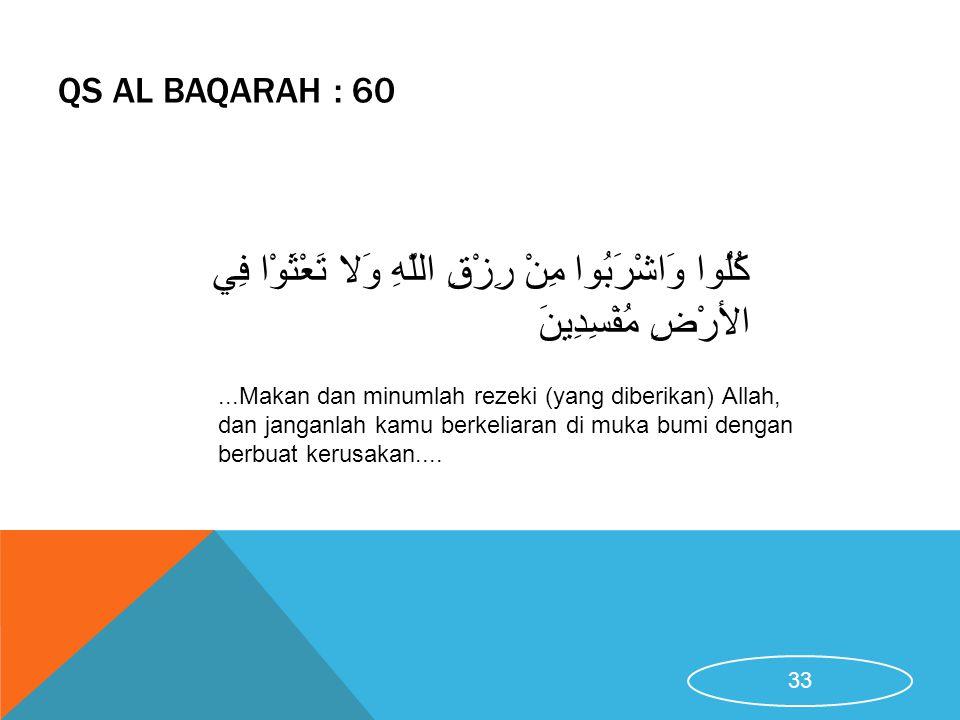 QS Al Baqarah : 60 كُلُوا وَاشْرَبُوا مِنْ رِزْقِ اللَّهِ وَلا تَعْثَوْا فِي الأرْضِ مُفْسِدِينَ