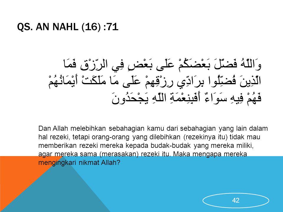 QS. An Nahl (16) :71