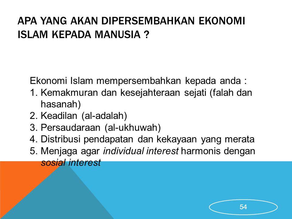 Apa Yang Akan Dipersembahkan Ekonomi Islam Kepada Manusia