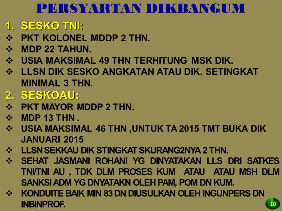 PERSYARTAN DIKBANGUM SESKO TNI: SESKOAU: PKT KOLONEL MDDP 2 THN.