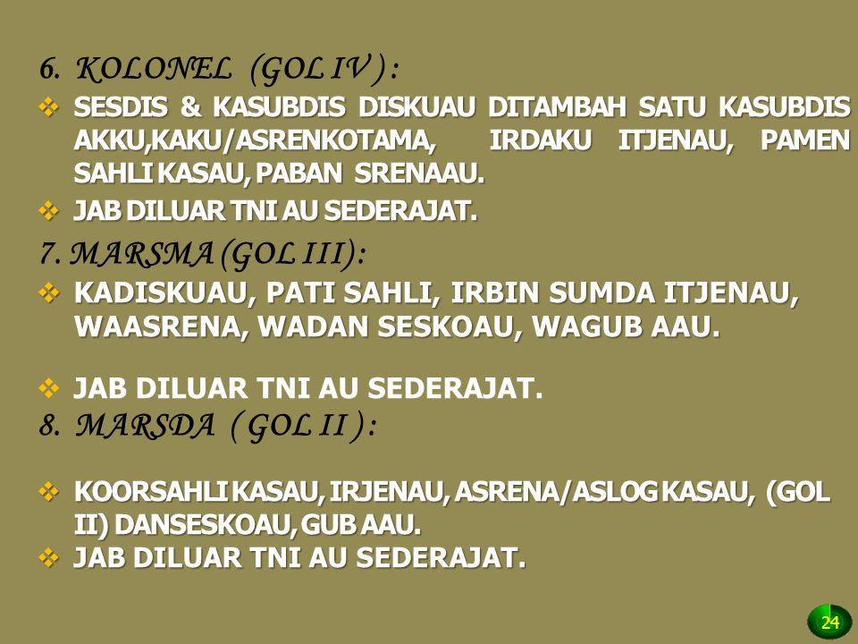 KOLONEL (GOL IV ) : 7. MARSMA (GOL III) : MARSDA ( GOL II ) :