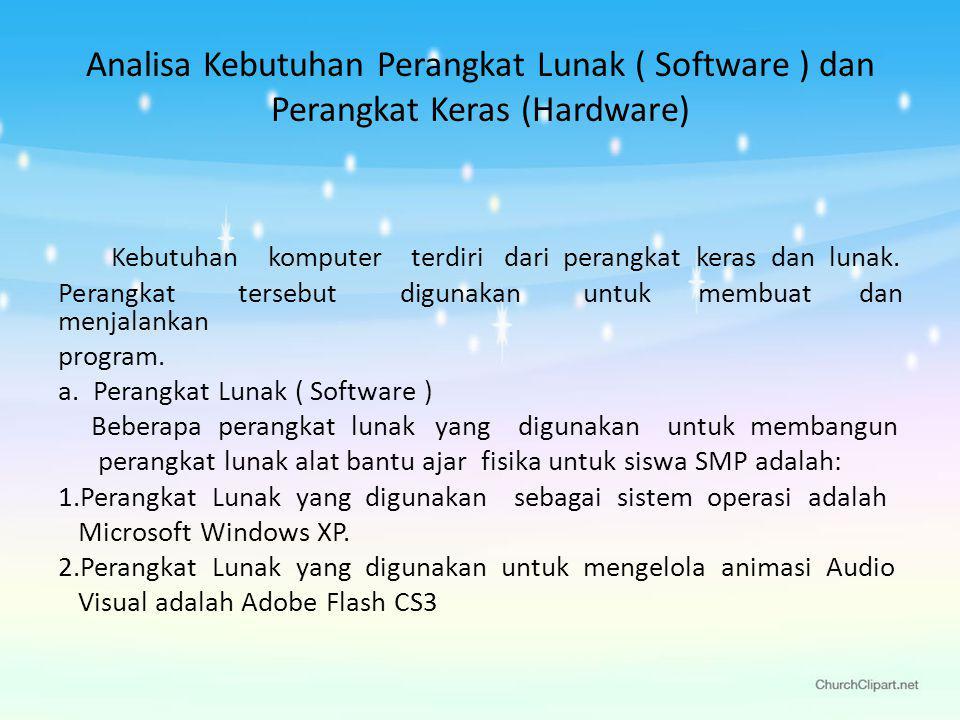 Analisa Kebutuhan Perangkat Lunak ( Software ) dan Perangkat Keras (Hardware)