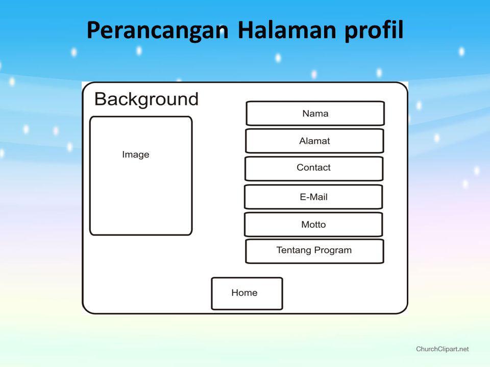 Perancangan Halaman profil