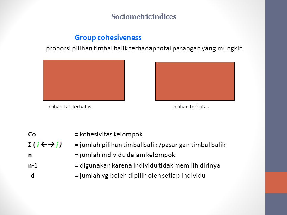 Sociometric indices Group cohesiveness