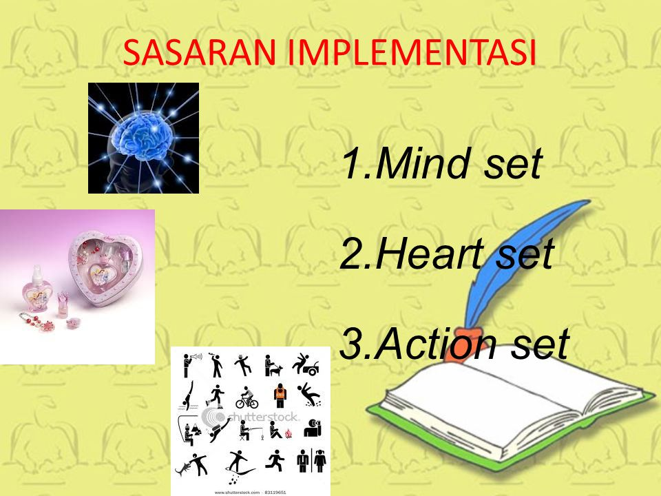 SASARAN IMPLEMENTASI Mind set Heart set Action set