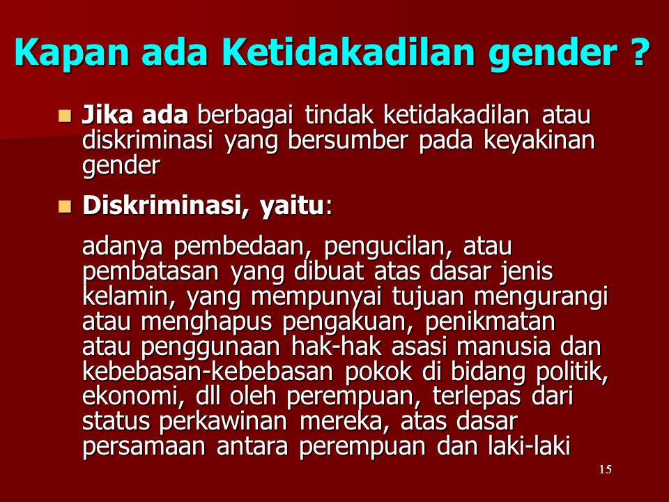 Kapan ada Ketidakadilan gender
