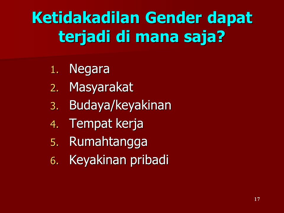Ketidakadilan Gender dapat terjadi di mana saja