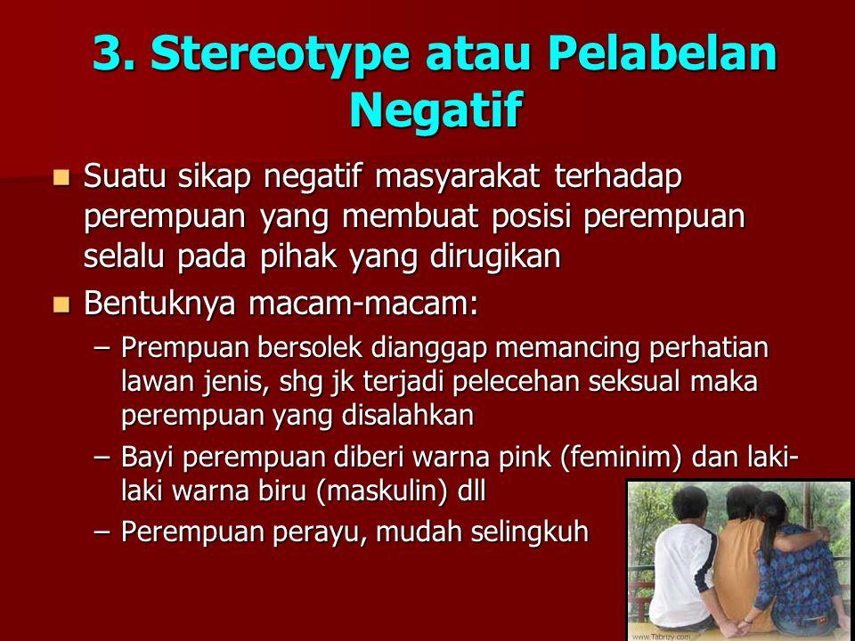 3. Stereotype atau Pelabelan Negatif