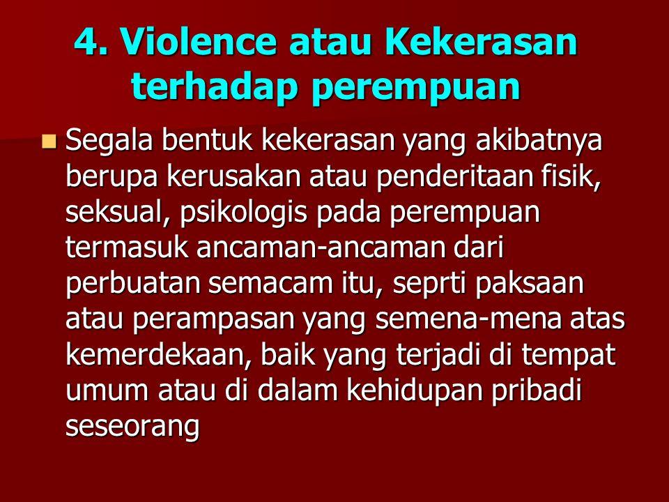4. Violence atau Kekerasan terhadap perempuan