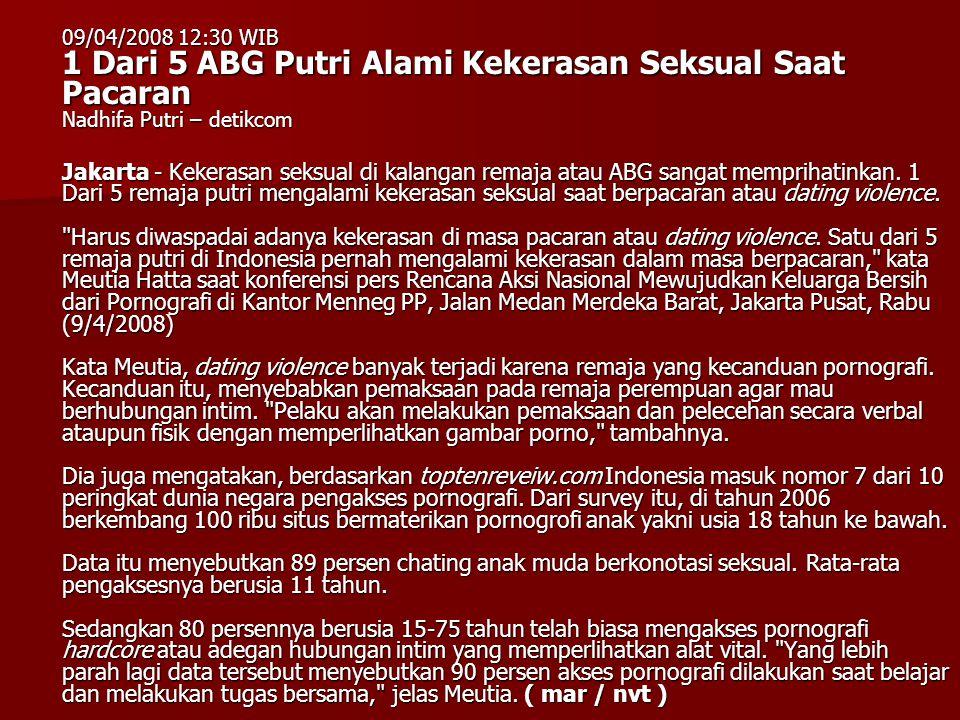 09/04/2008 12:30 WIB 1 Dari 5 ABG Putri Alami Kekerasan Seksual Saat Pacaran Nadhifa Putri – detikcom