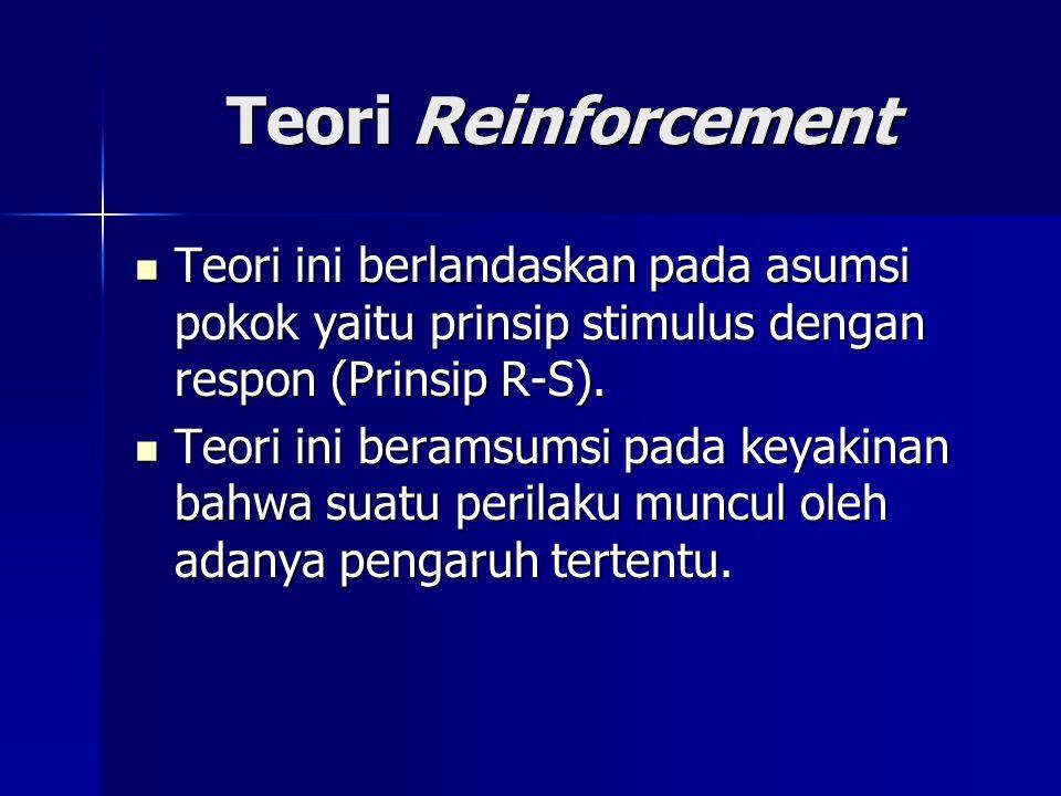 Teori Reinforcement Teori ini berlandaskan pada asumsi pokok yaitu prinsip stimulus dengan respon (Prinsip R-S).