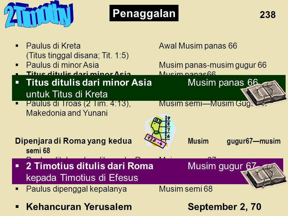 2 Timothy Penaggalan 238 Titus ditulis dari minor Asia Musim panas 66