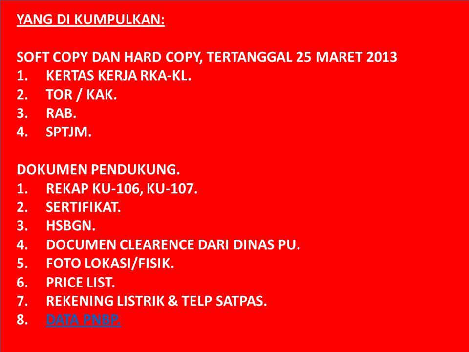 YANG DI KUMPULKAN: SOFT COPY DAN HARD COPY, TERTANGGAL 25 MARET 2013. KERTAS KERJA RKA-KL. TOR / KAK.