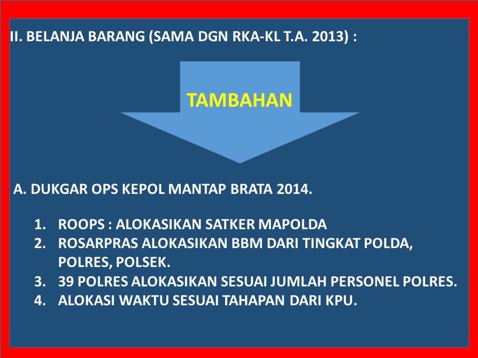 TAMBAHAN II. BELANJA BARANG (SAMA DGN RKA-KL T.A. 2013) :