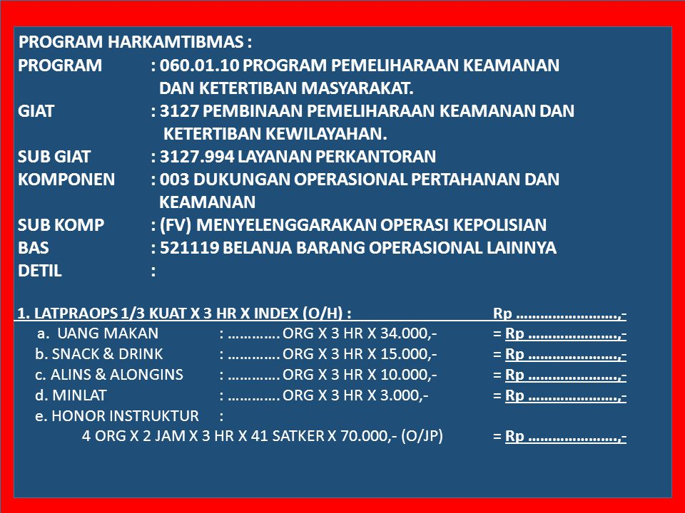 PROGRAM HARKAMTIBMAS :