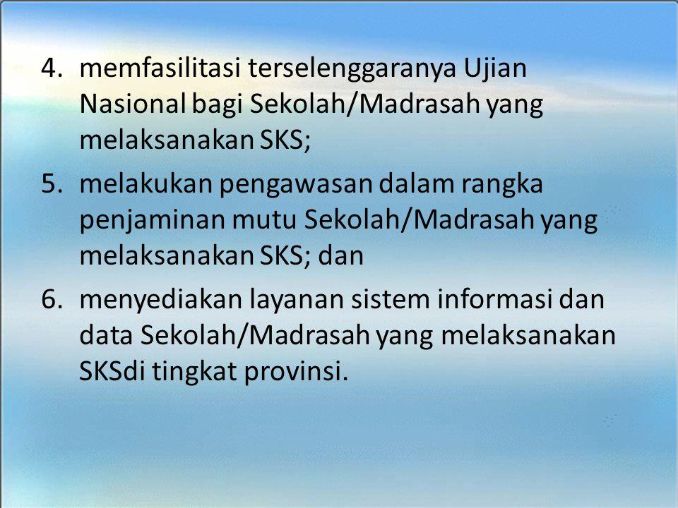 memfasilitasi terselenggaranya Ujian Nasional bagi Sekolah/Madrasah yang melaksanakan SKS;