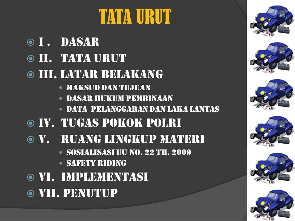 TATA URUT I . DASAR II. TATA URUT III. LATAR BELAKANG