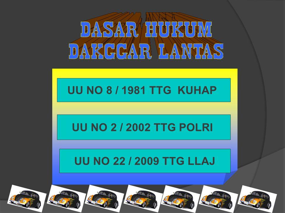 UU NO 8 / 1981 TTG KUHAP UU NO 2 / 2002 TTG POLRI UU NO 22 / 2009 TTG LLAJ