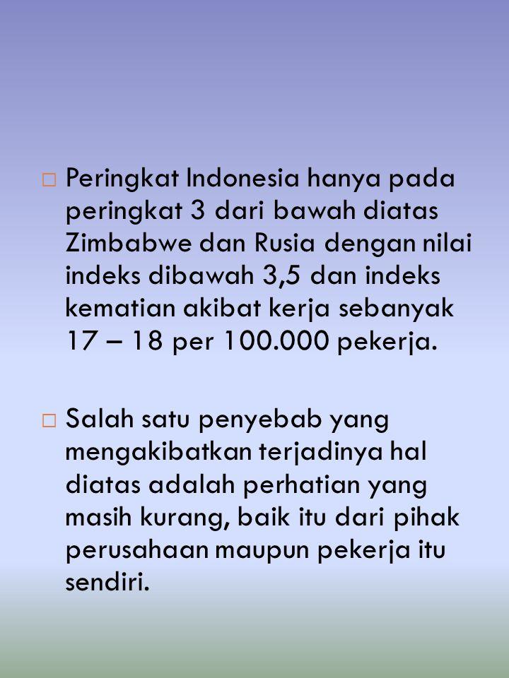 Peringkat Indonesia hanya pada peringkat 3 dari bawah diatas Zimbabwe dan Rusia dengan nilai indeks dibawah 3,5 dan indeks kematian akibat kerja sebanyak 17 – 18 per 100.000 pekerja.