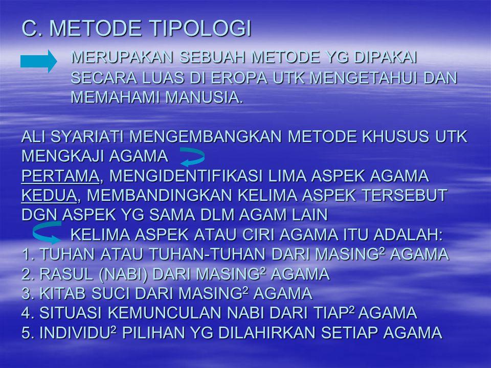 C. METODE TIPOLOGI. MERUPAKAN SEBUAH METODE YG DIPAKAI