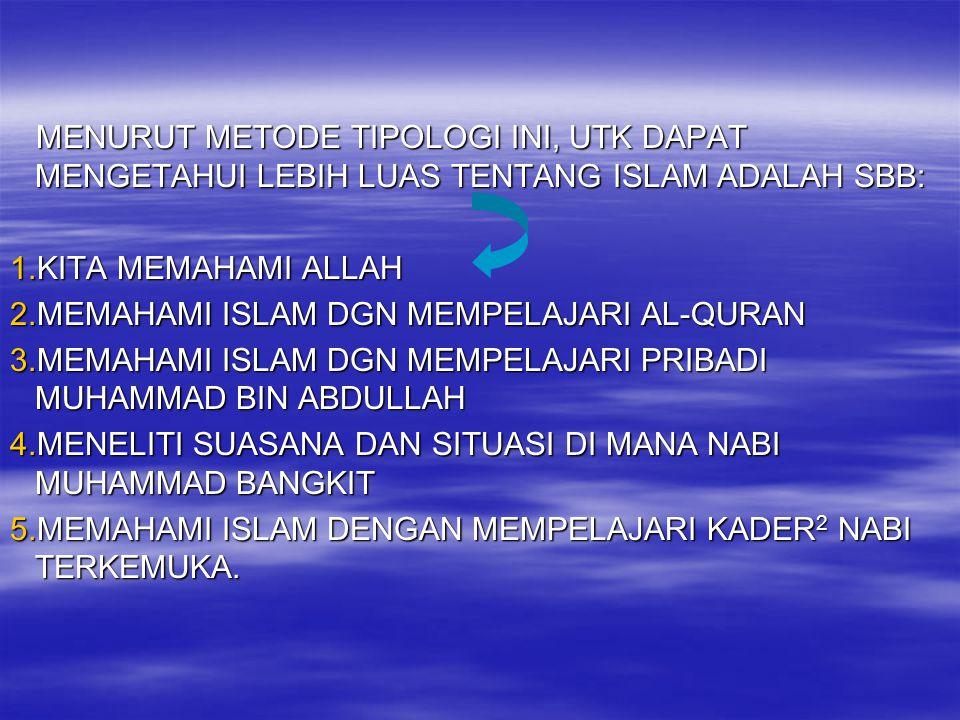 MENURUT METODE TIPOLOGI INI, UTK DAPAT MENGETAHUI LEBIH LUAS TENTANG ISLAM ADALAH SBB:
