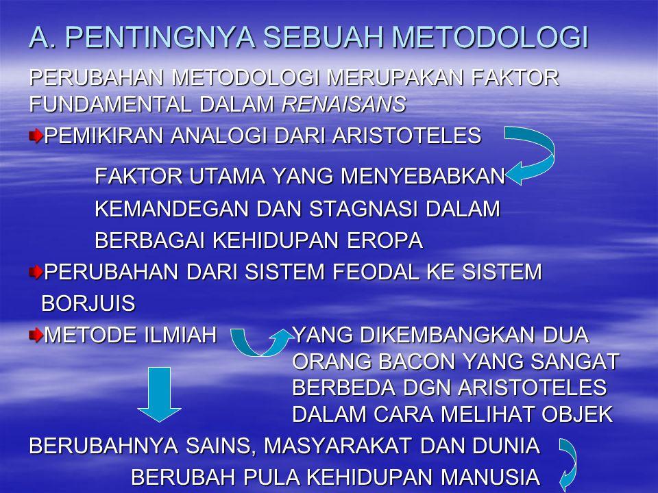 A. PENTINGNYA SEBUAH METODOLOGI