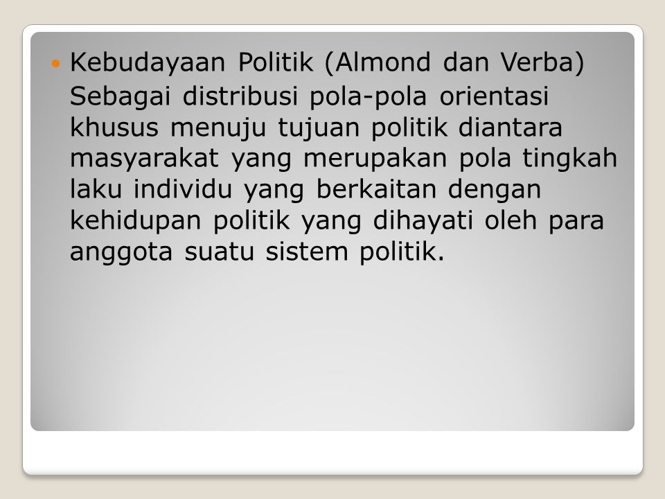 Kebudayaan Politik (Almond dan Verba)