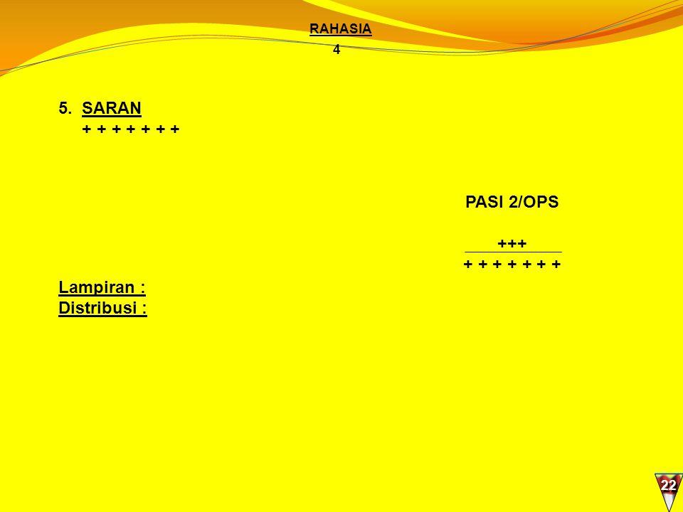 5. SARAN + + + + + + + PASI 2/OPS +++ + + + + + + + Lampiran :