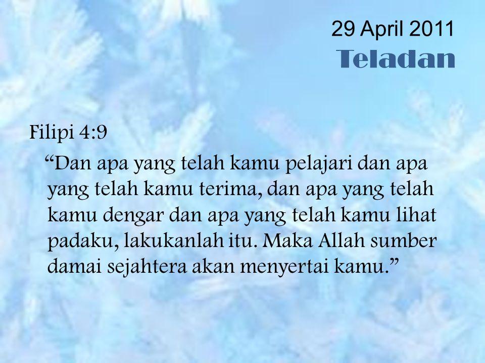 29 April 2011 Teladan